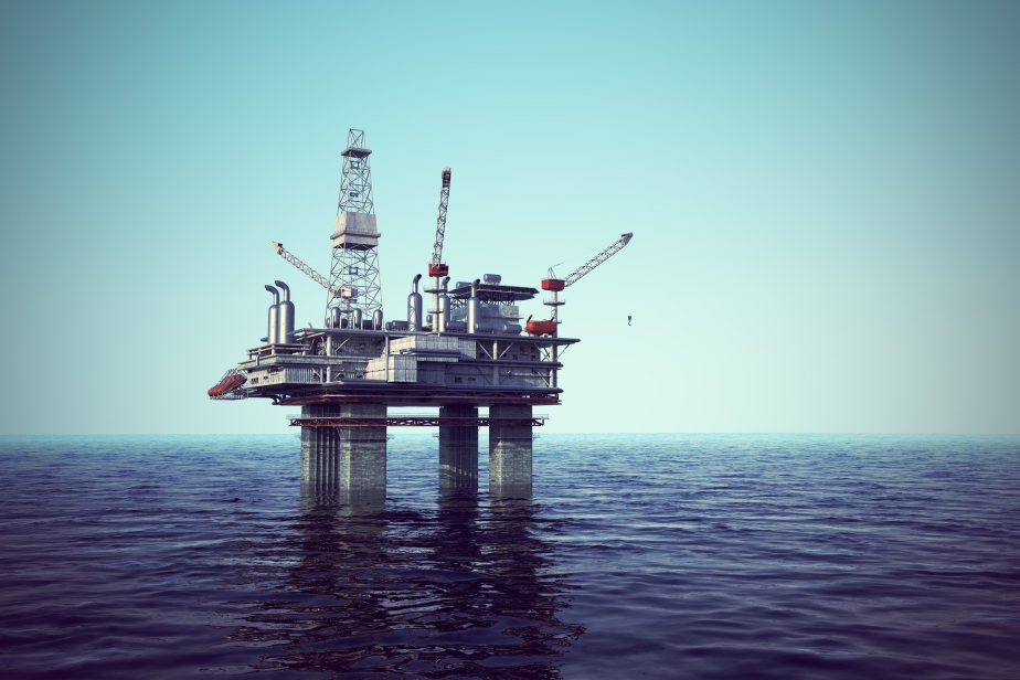 Oil platform on sea.